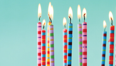 Candles, numbers, ribbons